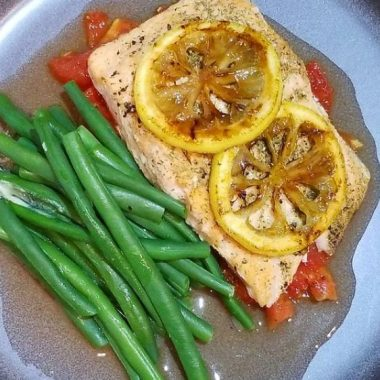 Roasted Salmon with Roasted Plum Tomatoes & Caramelized Lemons