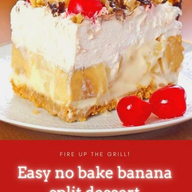 easy no bake banana split dessert #dessert