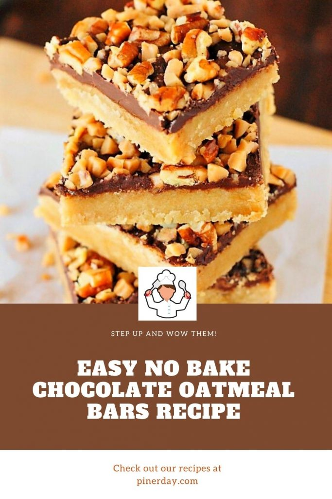 Easy No Bake Chocolate Oatmeal Bars Recipe #EasyNoBake #Chocolate #Oatmeal #Bars