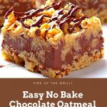 Easy No Bake Chocolate Oatmeal Bars Recipe #EasyNoBake #Chocolate #Oatmeal #Bars #Recipe